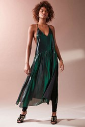 Urban Outfitters Uo Sinestro Metallic Drop Waist Tunic Dark Green