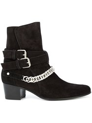 Amiri Chain Embellished Ankle Boots Black
