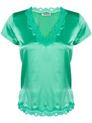 Max And Moi V Neck Blouse Green