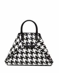 Akris Ai Medium Top Handle Houndstooth Shoulder Bag Black White