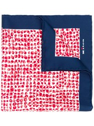 Kiton Dotted Pocket Square Red