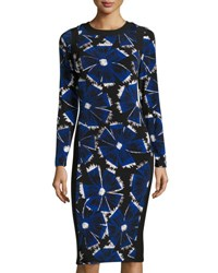 Maggy London Woodblock Flower Midi Dress Black Blue