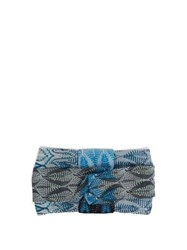 Missoni Lurex Knit Headband Blue