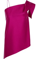 Roland Mouret Iver One Shoulder Asymmetric Satin Top Pink