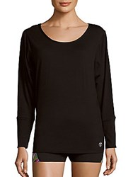 Trina Turk Recreation Knotted Dolman Sleeve Solid Pullover Black