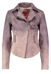 Freaky Nation Nelly Leather Jacket Light Grey