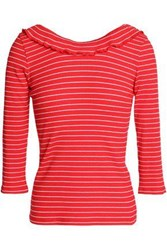 Claudie Pierlot Striped Ribbed Stretch Cotton Top Red