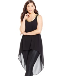 City Chic Plus Size Metallic High Low Tunic Top Black