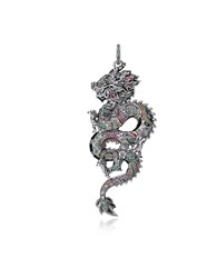Thomas Sabo Necklaces Blackened Sterling Silver Enamel And Multicolor Glass Ceramic Stones Small Chinese Dragon Pendant