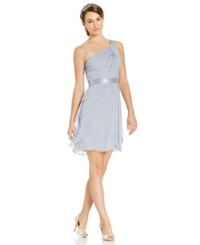 Adrianna Papell One Shoulder Tiered Chiffon Dress Silver Grey