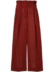 Sonia Rykiel Checked Wide Leg Trousers Red