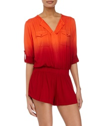Young Fabulous And Broke Young Fabulous And Broke Malik Ombre Tab Sleeve Short Jumpsuit Red Orange