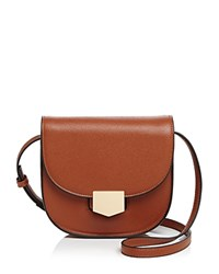 Melie Bianco Olympia Fold Over Saddle Bag Cognac Brown Gold