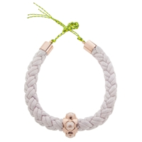 Cabinet Rose Gold Plated Swarovski Crystal Silk Rope Oyster Collar Necklace White