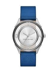 Marc Jacobs Tether Skeleton Stainless Steel And Leather Strap Watch Blue