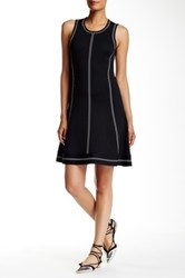Pink Tartan Whipstitch Fit And Flare Dress Black