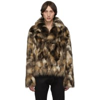 Saint Laurent Brown Faux Fur Jacket