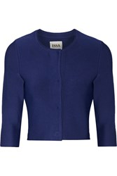 Issa Cropped Stretch Knit Cardigan Blue