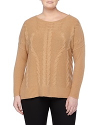 Neiman Marcus Cashmere Cable Knit Detailed Tunic Camel