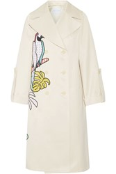 Mira Mikati Appliqued Cotton Blend Sateen Trench Coat Beige