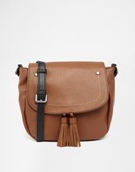 Mango Tassel Cross Body Bag Brown