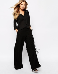 Mango Wide Leg Trouser Black