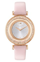 Ted Baker London Brooke Slim Leather Strap Watch 34Mm Pink Silver Rose Gold