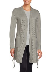 One A Long Sleeve Open Front Cardigan Grey