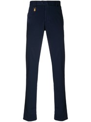 Billionaire Cropped Chino Trousers Cotton Spandex Elastane Blue