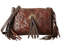 American West Honky Tonk Days Fringe Crossbody Earth Brown Cross Body Handbags