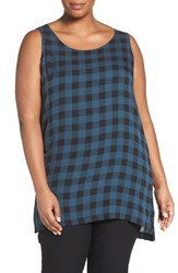 Eileen Fisher Plus Size Women's Scoop Neck Buffalo Check Silk Top