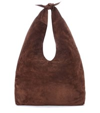 The Row Bindle Knot Suede Shoulder Bag Brown