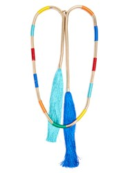 Rosantica By Michela Panero Isabel Double Tassel Necklace Blue