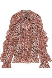Walter Baker Woman Troy Pussy Bow Ruffled Leopard Print Georgette Blouse Antique Rose