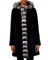 Gorski Reversible Chinchilla Trim Sheared Mink Fur Coat Black