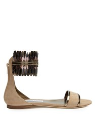 Jimmy Choo Kimro Suede Flat Sandals Nude Multi