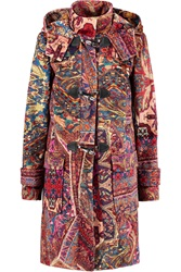 Just Cavalli Printed Velvet Hooded Coat Red