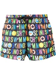 Moschino Swim Logo Short Swimsuit Black
