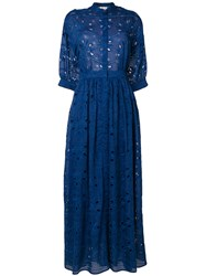 Paul And Joe Embroidered Maxi Shirt Dress Blue
