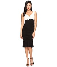 Unique Vintage Jersey Knit Ruched Fitted Dress Ivory Black Women's Dress Multi