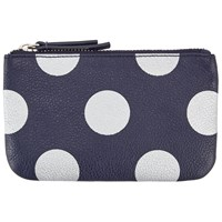 John Lewis Dot Print Leather Coin Purse Blue
