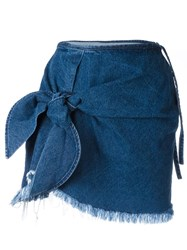 Marques Almeida Marques'almeida Knot Detail Denim Skirt Blue