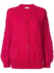 Coohem Mohair Cable Knit Cardigan Pink