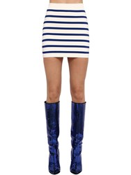 Balmain Striped Viscose Blend Knit Skirt White Blue