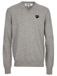 Comme Des Garcons Play Heart Logo V Neck Sweater Grey