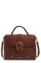 Etienne Aigner 'Barrel' Calfskin Leather Satchel Brown Cordovan Moto