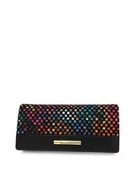 Braccialini Linda Continental Suede And Saffiano Leather Wallet Black Multi
