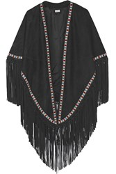 Talitha Fringed Embroidered Suede Cape Black