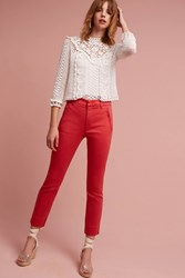 Anthropologie Level 99 Liza Sateen Skinny Trousers Red