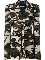 House Of Holland Camouflage Tailored Coat Green